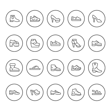 Set round line icons of shoes isolated on white. Vector illustration