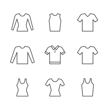 Set line icons of t-shirt, singlet, long sleeve isolated on white. Vector illustration 向量圖像
