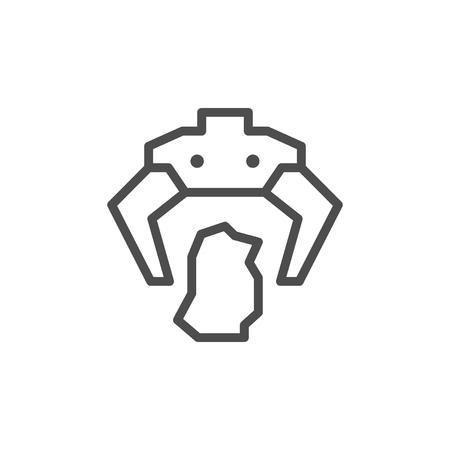Robotic claw line icon isolated on white. Vector illustration