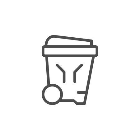 Outdoor garbage bin line icon Illustration