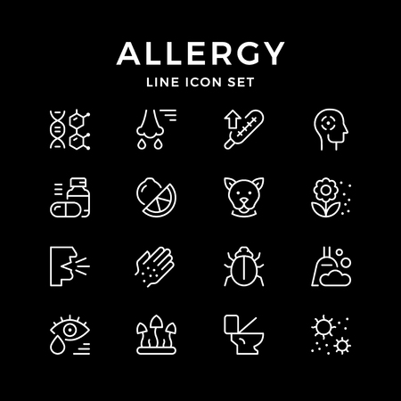Set line icons of allergy isolated on black. Vector illustration Vectores