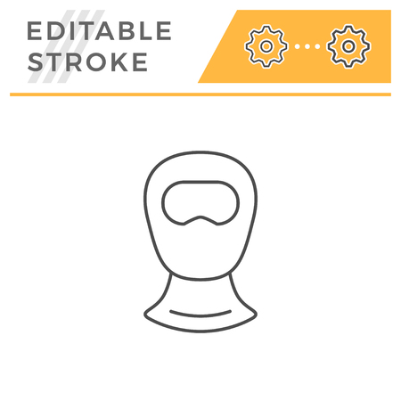 Balaclava line icon isolated on white. Editable stroke. Vector illustration