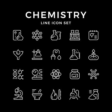 Définir des icônes de ligne de chimie isolées sur fond noir. Illustration vectorielle