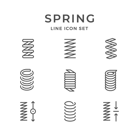 Set line icons of spring isolated on white. Vector illustration