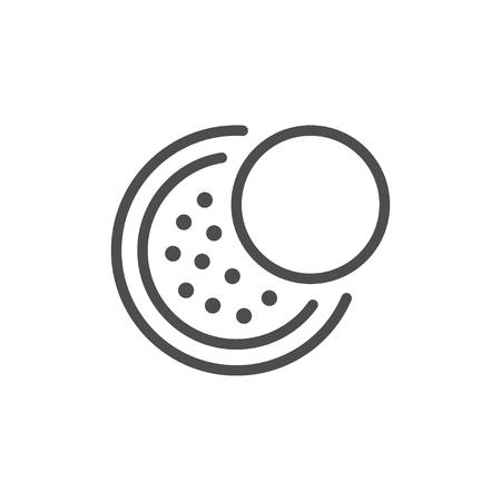 Icône de ligne de poudre cosmétique isolé sur blanc. Illustration vectorielle
