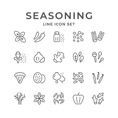 Stellen Sie die Liniensymbole des Gewürzs lokal auf Weiß ein. Vektorillustration