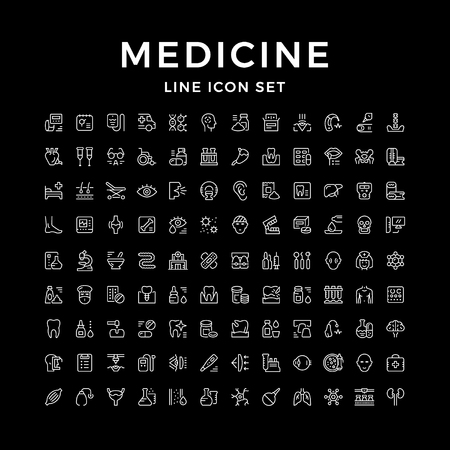 Set line icons of medicine isolated on black. Vector illustration