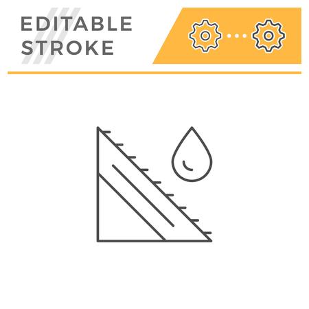Roof scheme line icon isolated on white. Editable stroke. Vector illustration Vetores