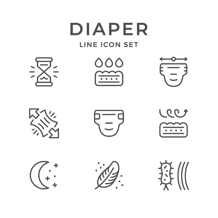 Set line icons of diaper isolated on white. Vector illustration Illustration