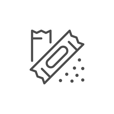 Icona di linea di bastoncini di imballaggio isolato su bianco. Illustrazione vettoriale Vettoriali