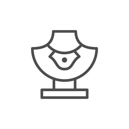 Jewelry mannequin line icon isolated on white. Vector illustration Illustration