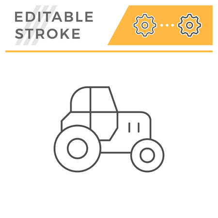 Tractor line icon isolated on white. Editable stroke. Vector illustration
