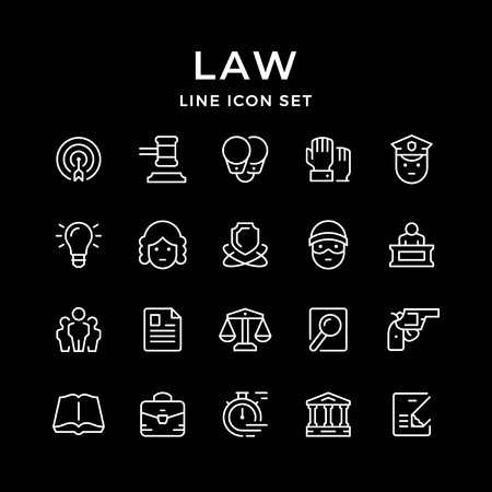 Set line icons of law isolated on black. Vector illustration