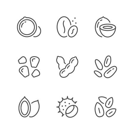 Définir des icônes de ligne de noix et de graines isolées sur blanc. Illustration vectorielle