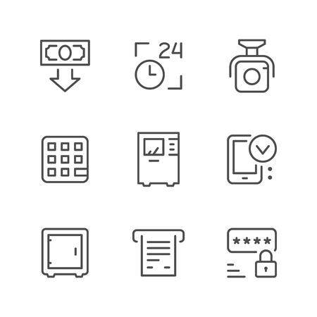 Set line icons of ATM isolated on white. Vector illustration
