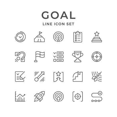 Impostare le icone della linea di obiettivo isolato su bianco. Illustrazione vettoriale