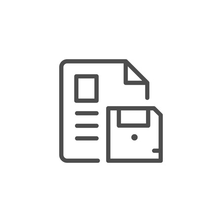 Document saving line icon isolated on white. Vector illustration