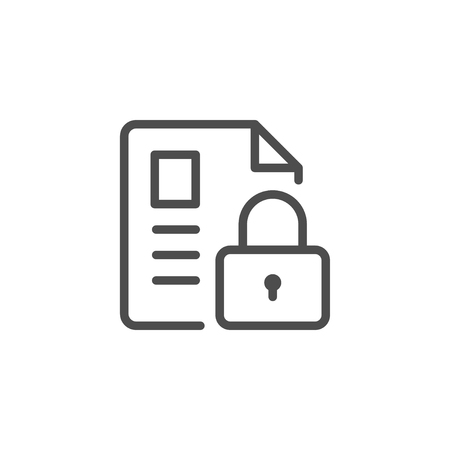Document security line icon isolated on white. Vector illustration