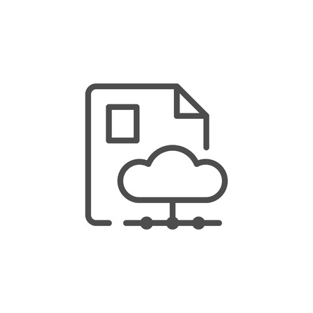 Document cloud storage line icon isolated on white. Vector illustration