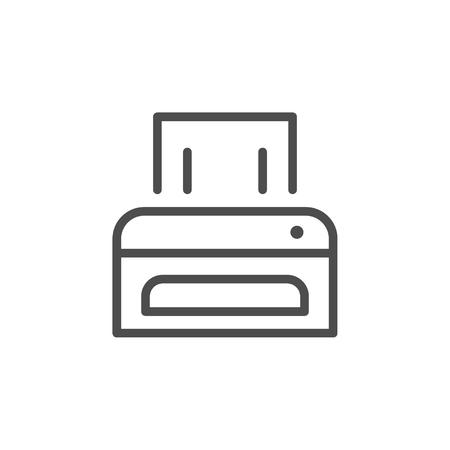 Printer line icon isolated on white. Vector illustration Stock Illustratie