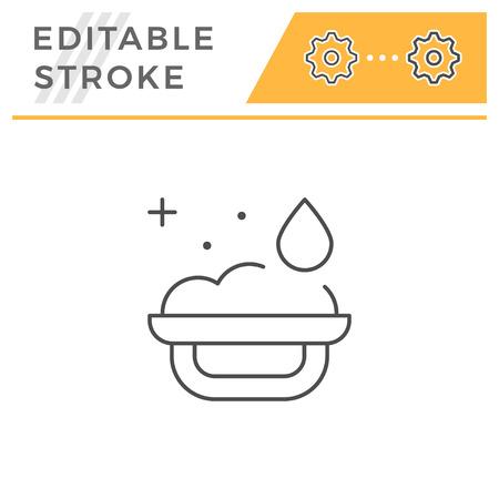 Bath sponge line icon isolated on white. Editable stroke. Vector illustration