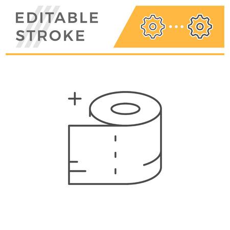 Toilet paper line icon isolated on white. Editable stroke. Vector illustration Stock Illustratie