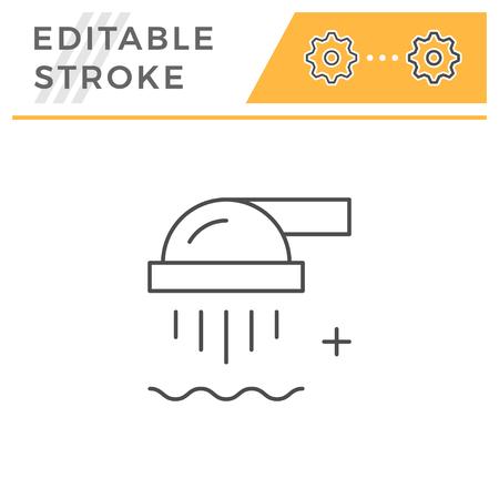 Shower line icon isolated on white. Editable stroke. Vector illustration