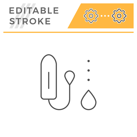 Cotton tampon line icon isolated on white. Editable stroke. Vector illustration