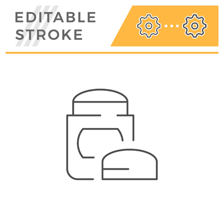 Dry deodorant line icon isolated on white. Editable stroke. Vector illustration