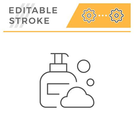 Liquid soap line icon isolated on white. Editable stroke. Vector illustration