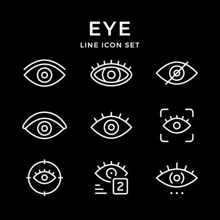 Set line icons of eye isolated on black. Vector illustration Stock Illustratie