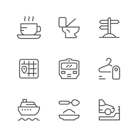 Set line icons of public navigation isolated on white. Vector illustration Stock Illustratie