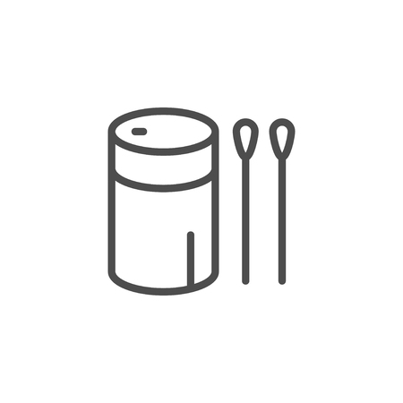 Cotton sticks line icon isolated on white. Vector illustration