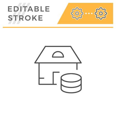 Real estate service line icon isolated on white. Editable stroke. Vector illustration Stock Illustratie