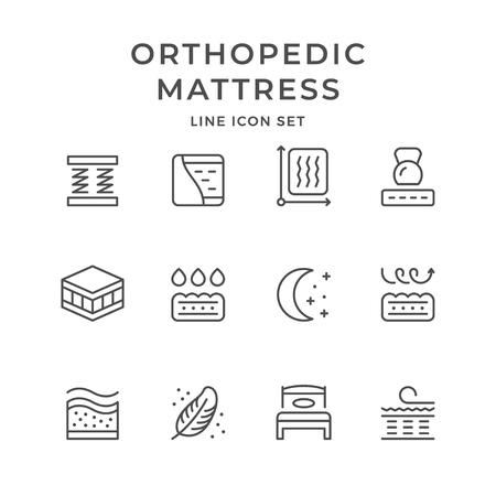 Stellen Sie Liniensymbole der orthopädischen Matratze ein, die auf Weiß lokalisiert wird Vektor-Illustration