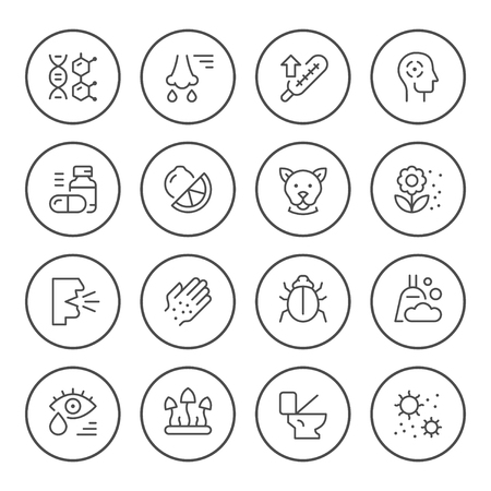 Set round line icons of allergy isolated on white. Vector illustration