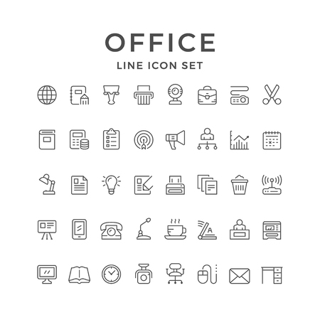 Set line icons of office
