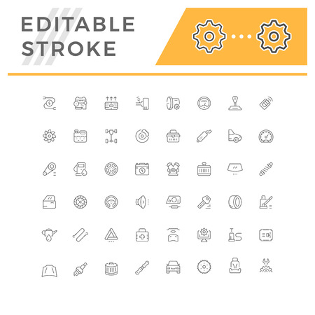 Set of car related line icons isolated on white. Editable stroke. Vector illustration Ilustração