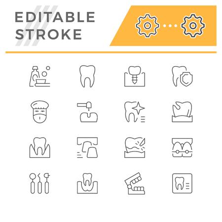 Set of dental related line icons isolated on white. Editable stroke. Vector illustration