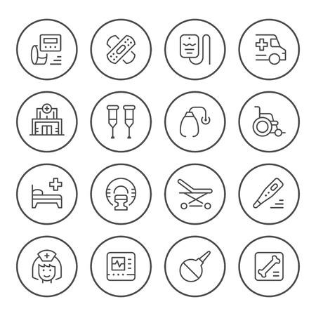 Set of medical round icons Ilustración de vector