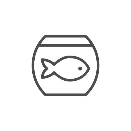 Aquarium line icon isolated on white. Vector illustration