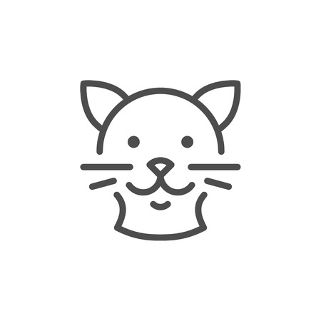 Cat line icon isolated on white. Vector illustration Illustration