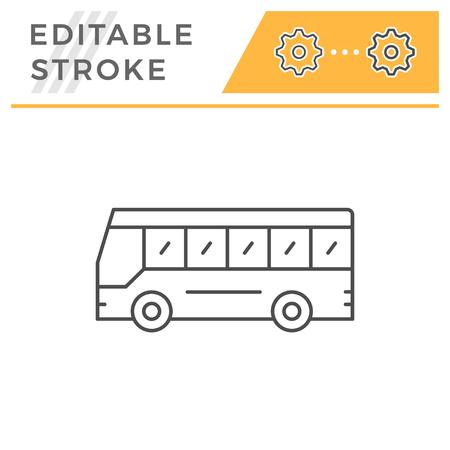 Icône de ligne de bus touristique isolé sur blanc. Trait modifiable. Illustration vectorielle