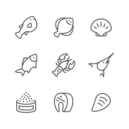 Set line icons of seafood Illustration