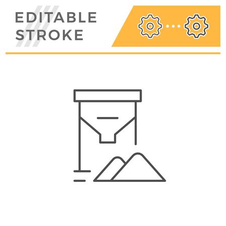 Grain tank line icon isolated on white. Editable stroke. Vector illustration Illustration