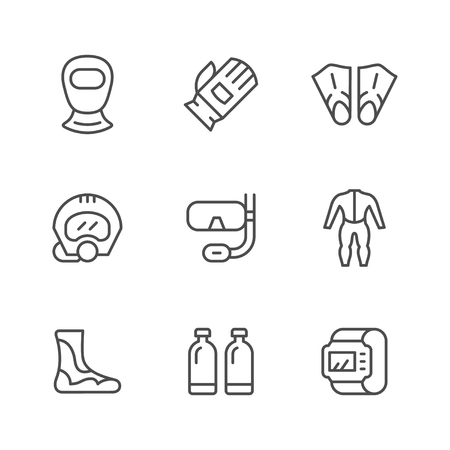 Set line icons of diving isolated on white. Vector illustration