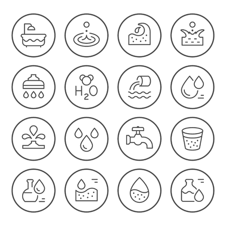 Set round line icons of water Illustration