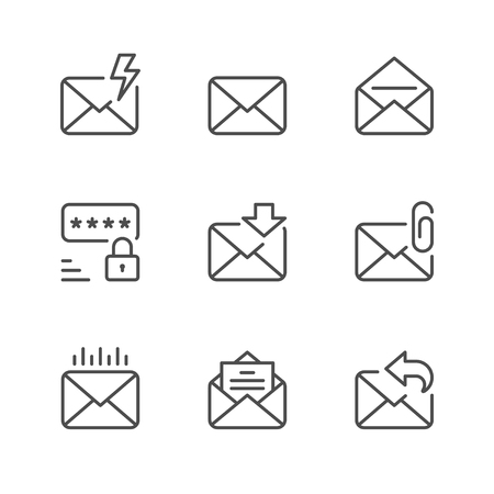 Set line icons of mail isolated on white. Vector illustration