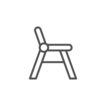 Baby chair line icon isolated on white. Vector illustration