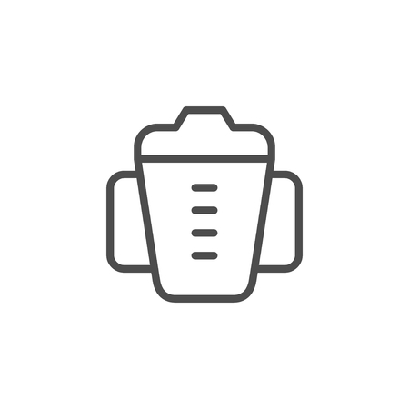 Baby cup line icon isolated on white. Vector illustration